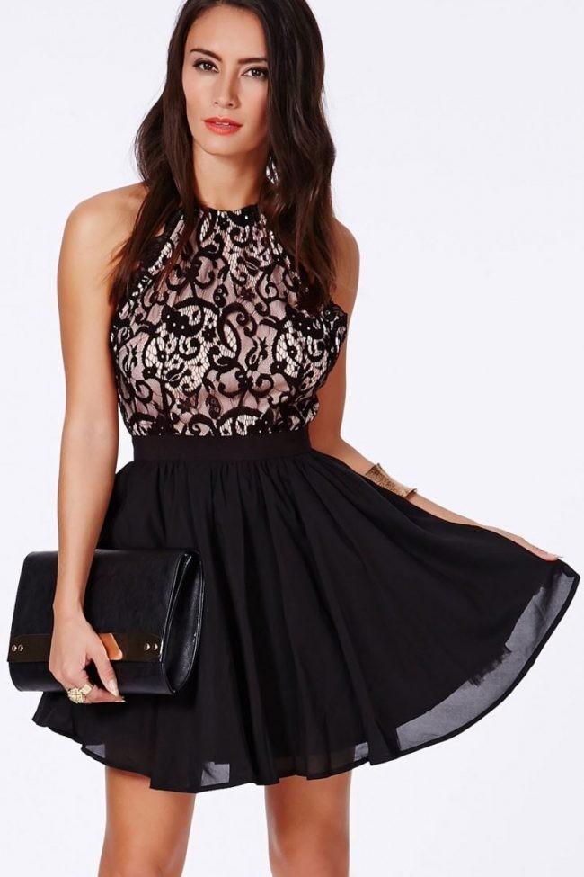 модное платье 2018: черное с кружевом без рукава короткое