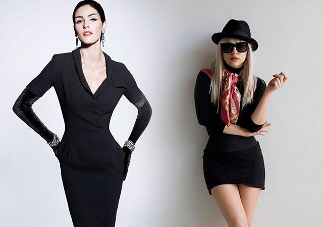 модное платье 2018: черное с длинным рукавом короткое