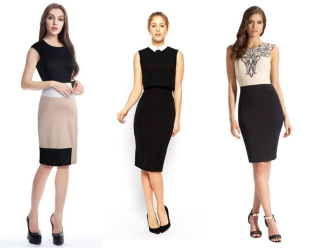 модные платья 2018: офисные платья по колено без рукава черное со светлым