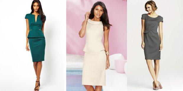 модные платья 2018: офисные платья зеленое белое серое