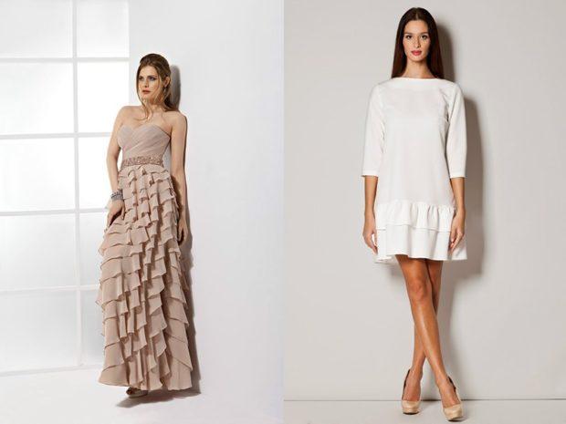 модные платья 2018: платья с воланами бежевое длинное белое короткое с рукавом