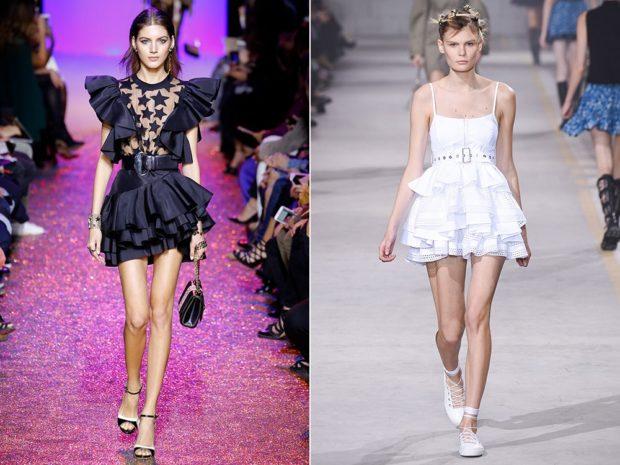 модные платья 2018: платья с воланами черное белое короткое