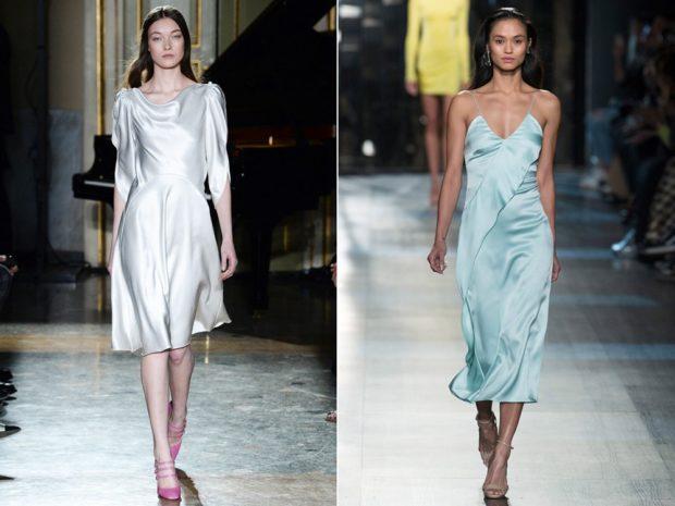 платья фото 2018: платье миди серебро с рукавом 3/4 голубое миди без рукава