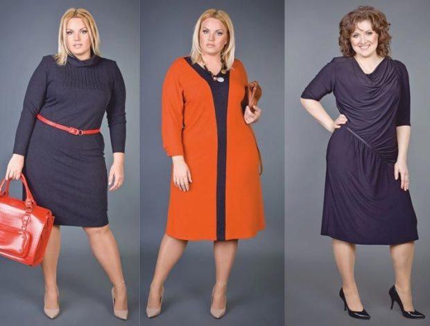 модные платья 2018 для полных: платье трикотажное синяя оранжевое синее