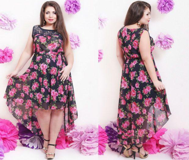 модные платья 2018 для полных: платье летнее шифоновое трапеция с шлейфом