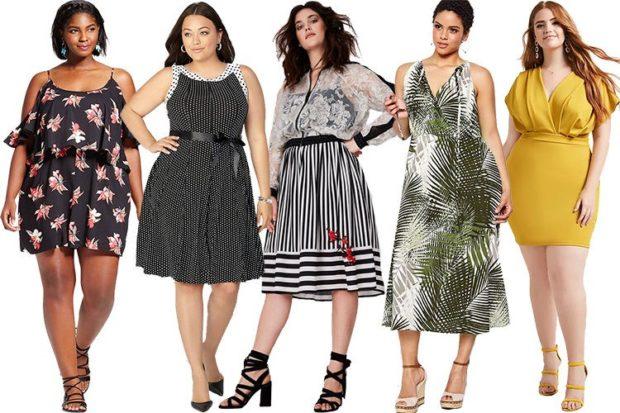 модные платья 2018 для полных: платья летние трапеция в полоски миди длинное в принт