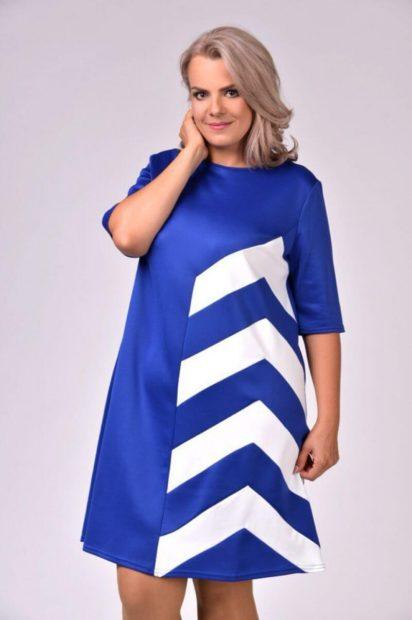 модные платья для полных 2019-2020: платье трапеция синяя рукав 3/4