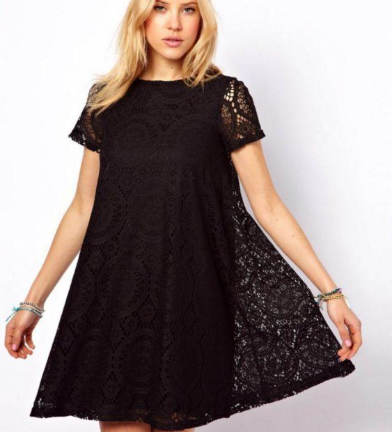 модные платья для полных 2018: платье трапеция кружевное