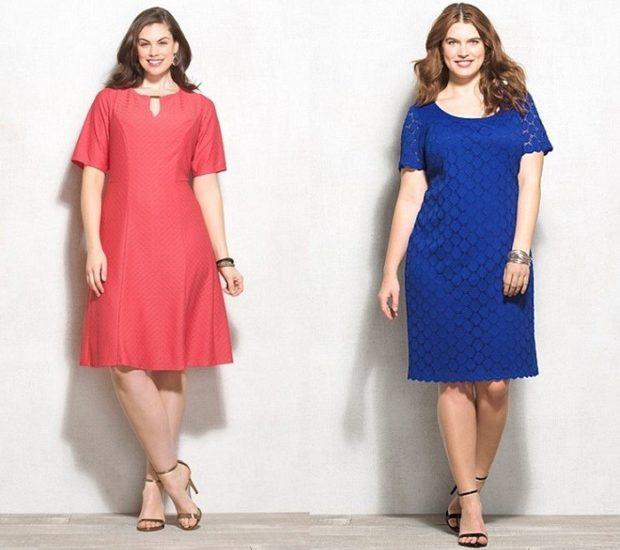 модные платья для полных 2018: трапеция миди красное синее