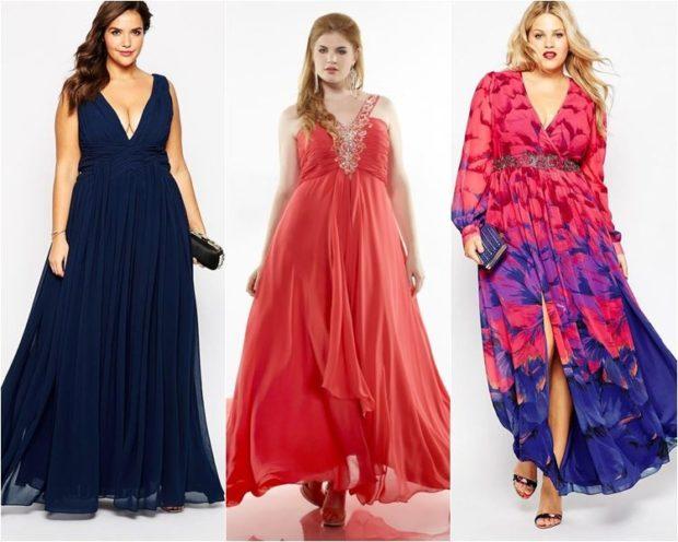 модные платья для полных 2018: платья в пол синее без рукава шифоновое красное в принт длинный рукав