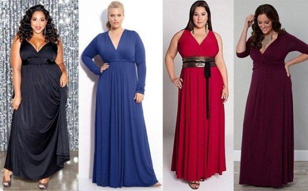 модные платья для полных 2018: платья в пол черное синее красное бордовое открытые плечи с рукавом