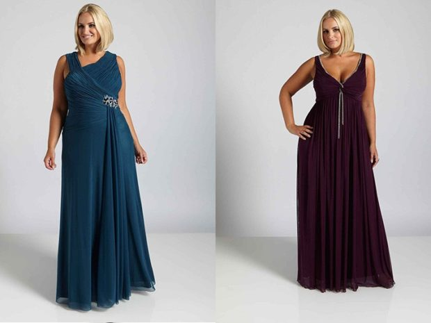 модные платья для полных 2018: платье в пол без рукава с декором