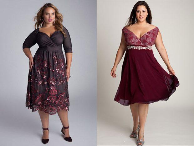 модные платья для полных 2018: платья миди рукава 3/4 без рукава