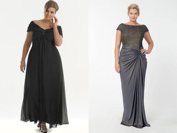 модные платья 2018 для полных: длинные с небольшими рукавами