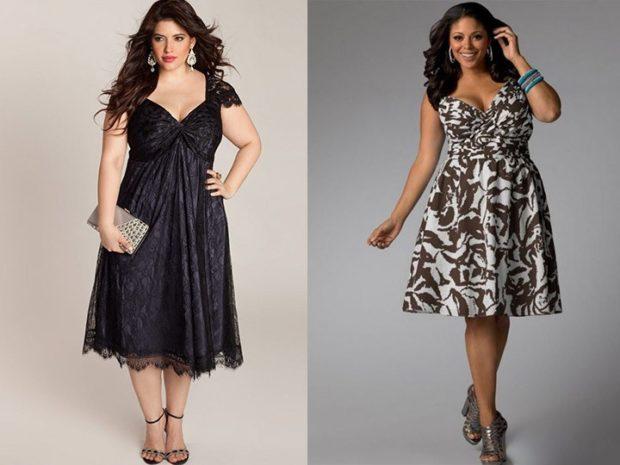 модные платья 2018 для полных: платья вечерние черное кружевное с принтом трапеция