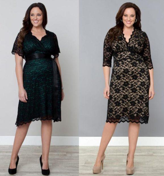 модные платья 2019-2020 для полных: вечерние платья миди гипюровое черное