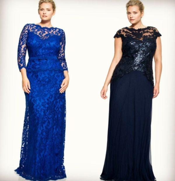 модные платья 2019-2020 для полных: вечерние платья длинные кружевные синее черное