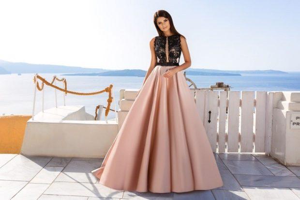 Платья на выпускной 2018 года: платье черное с розовым пышная юбка в пол