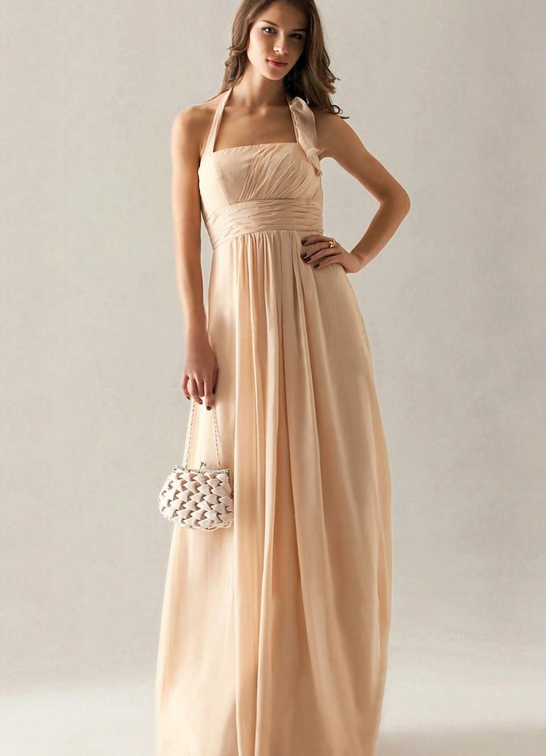 Платья на выпускной 2018 года: платье телесное шифоновое в пол