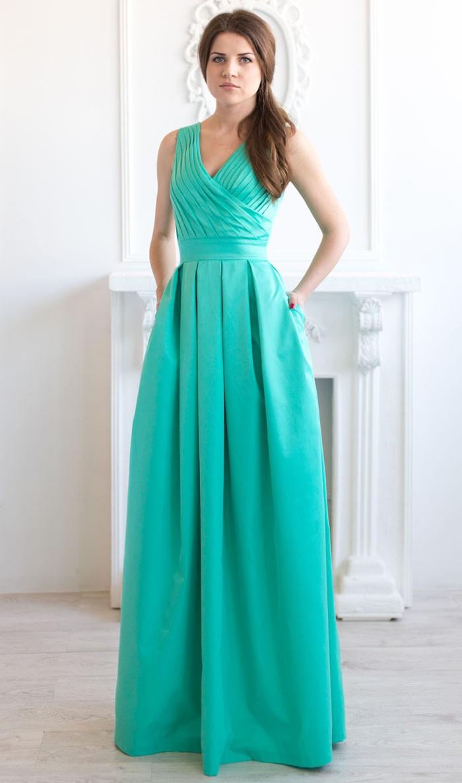 Платья на выпускной 2018 года: А-силуэт бирюзовое без плеч