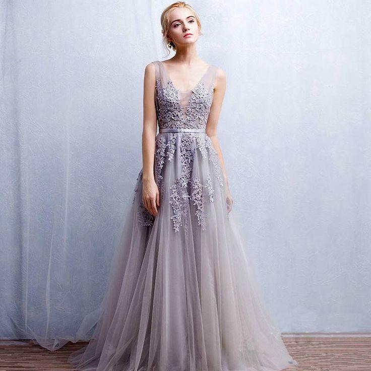 Платья на выпускной 2018 года: А-силуэт бледно-сиреневое шифоновое в пол