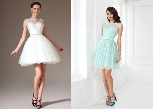 Платья на выпускной 2018 года: короткое белое платье бирюзовая