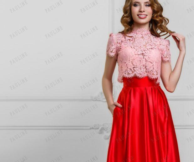 Платья на выпускной 2018 года: розовый кружевной топ юбка красная пояс высокий