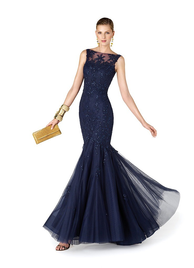 Платья на выпускной 2018 года: платье синее русалка