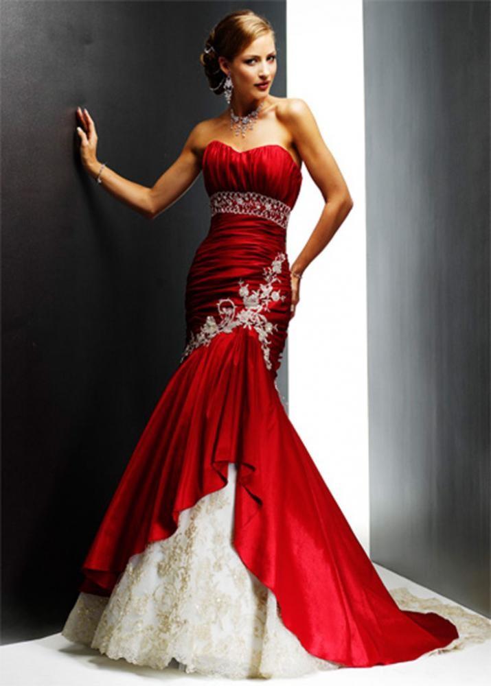 Платья на выпускной 2018 года: платье русалка красное с белым