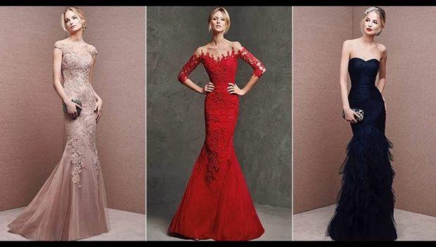 Платья на выпускной 2018 года: платье бежевое красное черное юбка русалка