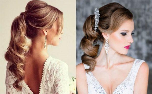 модные прически на новый год 2020: хвост на волнистые волосы с красиво челкой