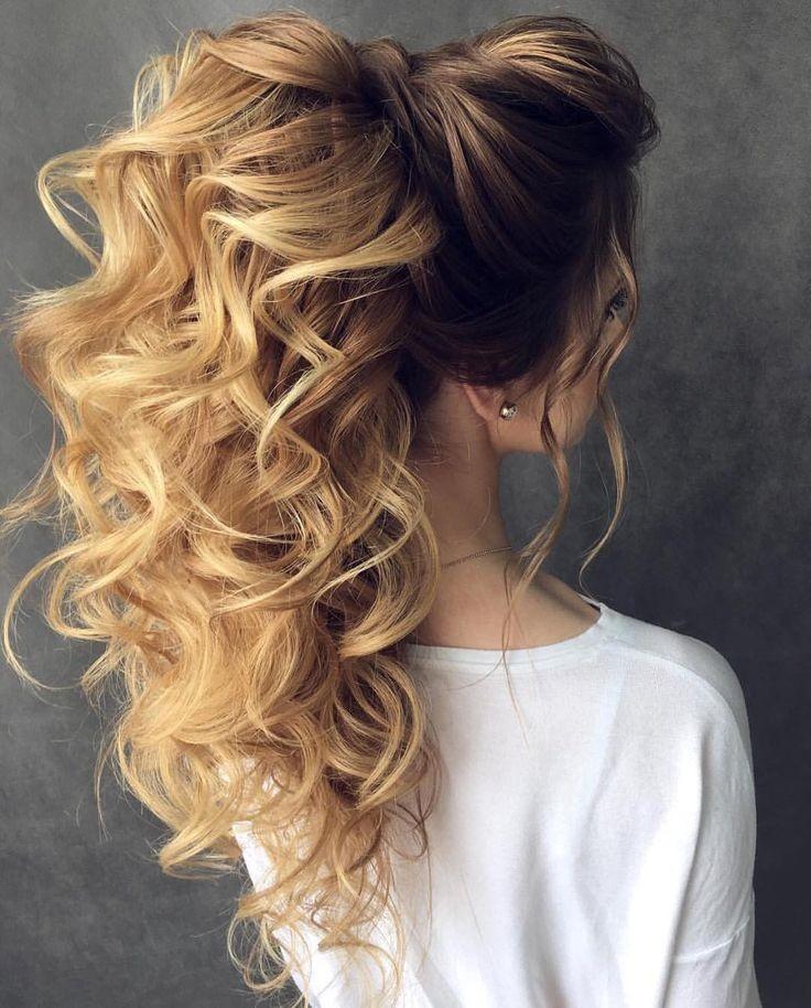модные прически на новый год 2020: хвост на волнистые волосы с локонами