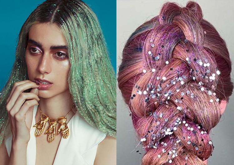 модные прически на новый год 2020: блестки на косе на распущенных волосах
