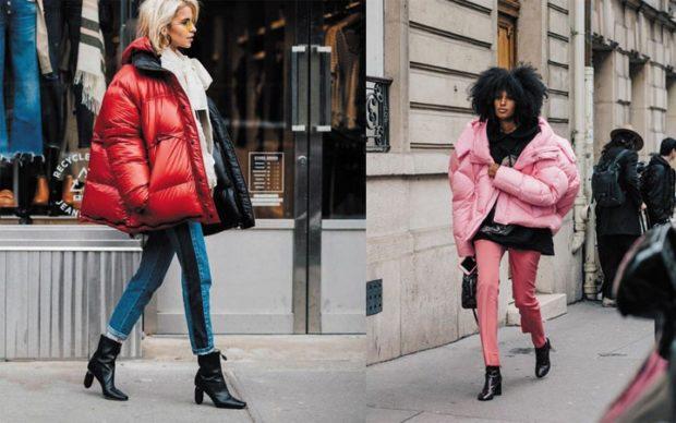 Модные пуховики 2019-2020 года: пуховик розовый красный оверсайз объемные