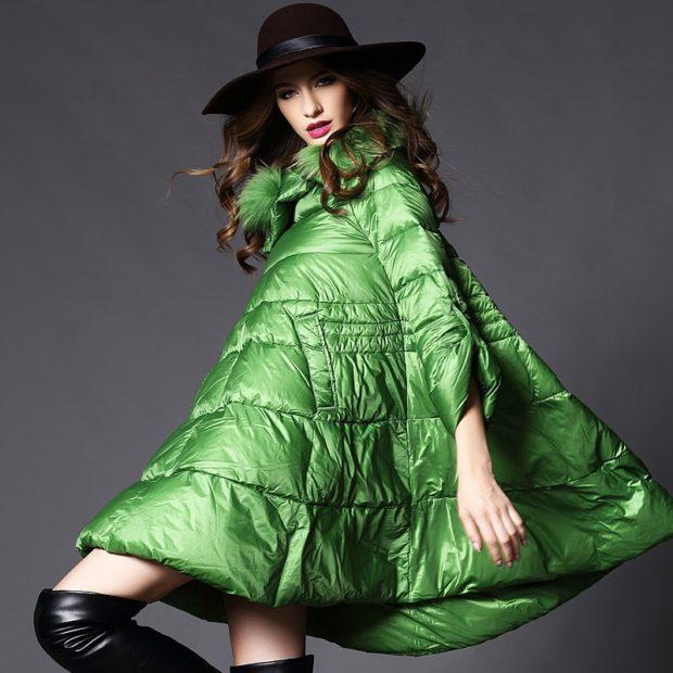 Модные пуховики 2018 года: пуховик зеленый широкий