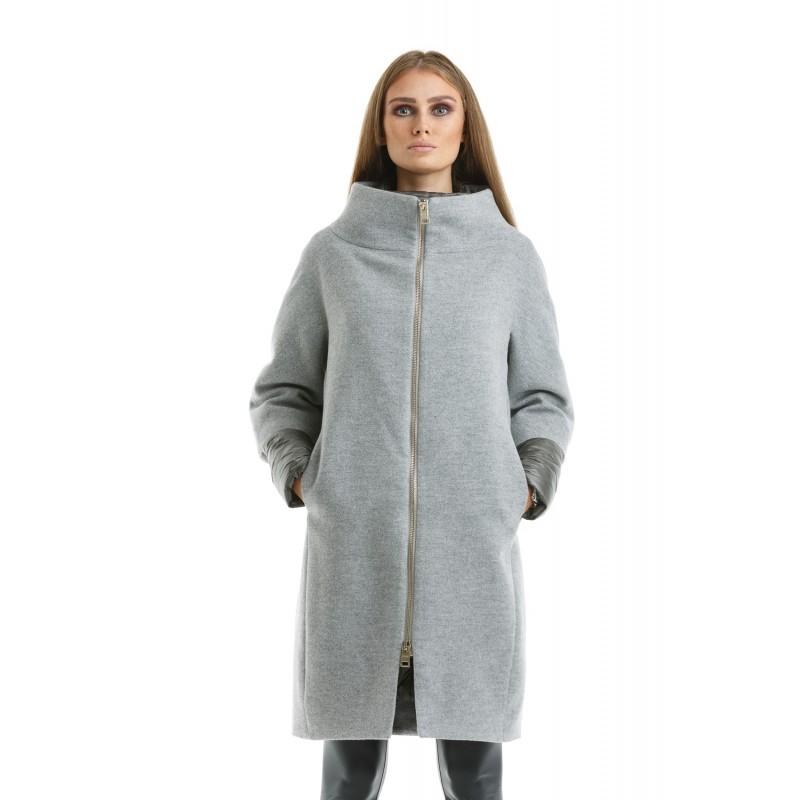 Модные пуховики 2018 года: пальто-пуховик серое на змейке