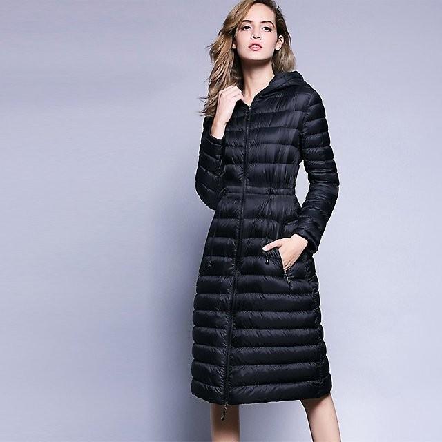 Модные пуховики 2018 года: пальто-пуховик черное стеганное