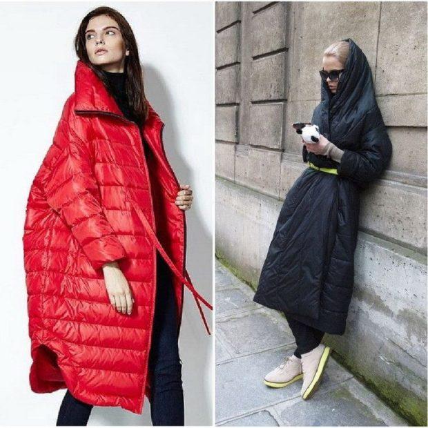 Модные пуховики 2018 года: пуховик объемный красный черный удлиненный