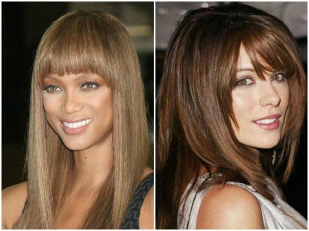модные стрижки на длинные волосы 2019-2020: челка прямая косая
