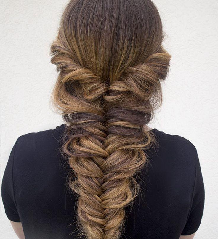 модные стрижки на длинные волосы 2019-2020: коса рыбий хвост