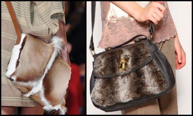 модные женские сумки 2018: сумка из меха на длинном ремне