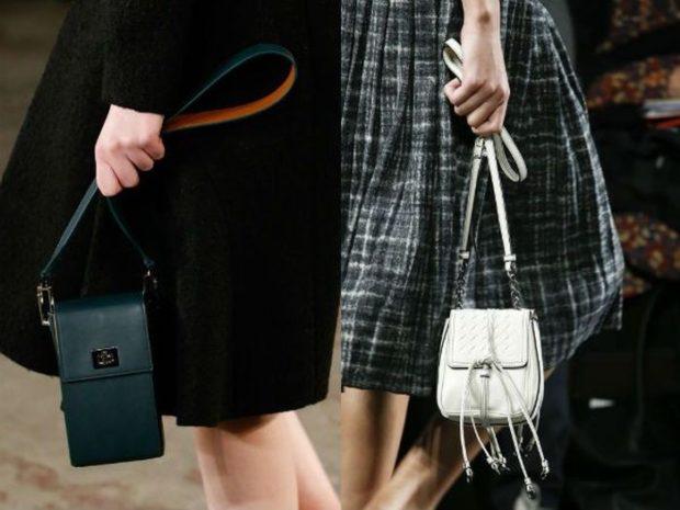 модные женские сумки 2018: маленькие сумочки зеленая белая на длинном ремне