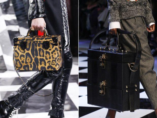 модные женские сумки 2018: сумочка чемодан леопардовый черный