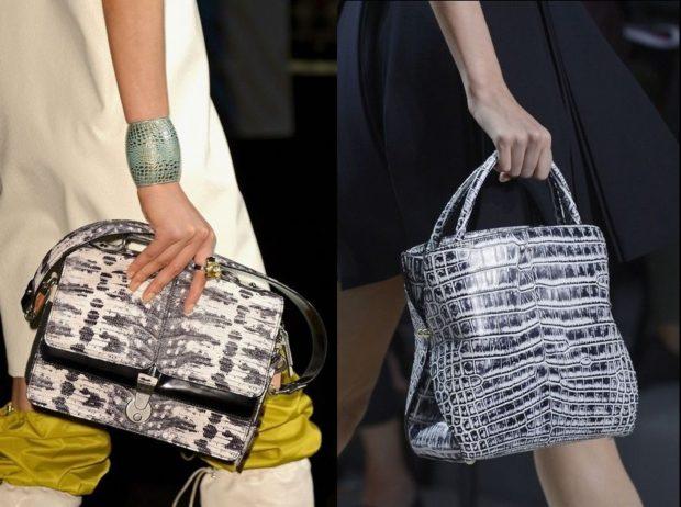 модные женские сумки 2018: под крокодила серая ручная