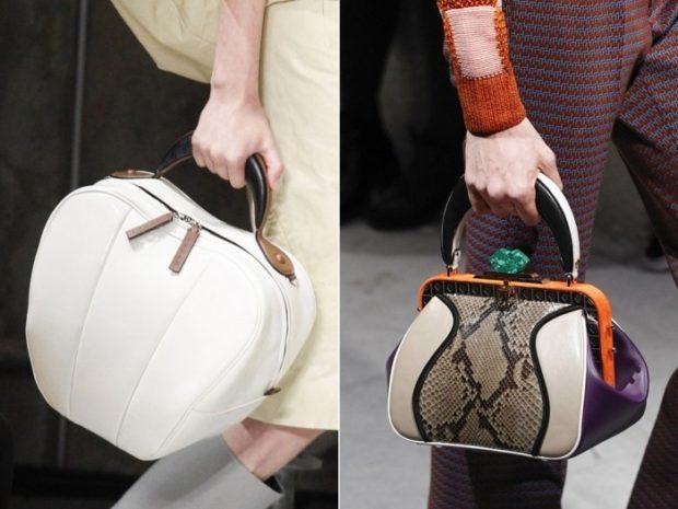 модные женские сумки 2018: сумки в руку разной формы белая под крокодила