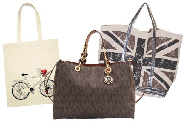 модные женские сумки 2018: сумка таут белая коричневая с принтом