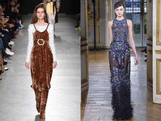 модные тенденции 2019-2020: платья в пол коричневое синее