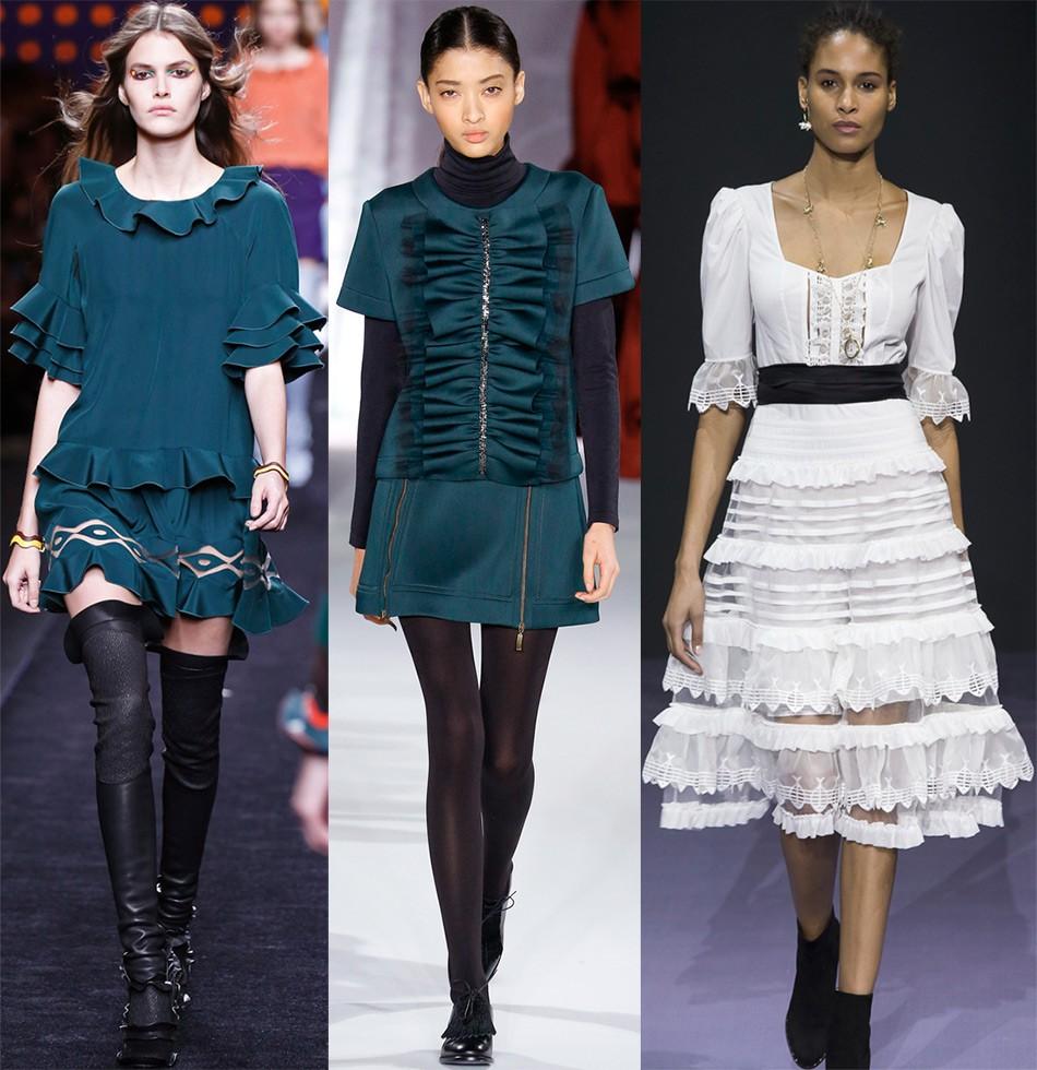 Модные тенденции 2019-2020 года: одежда с воланами платья миди
