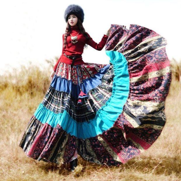 Модные тенденции 2019-2020 года: цыганский стиль юбка в пол яркая