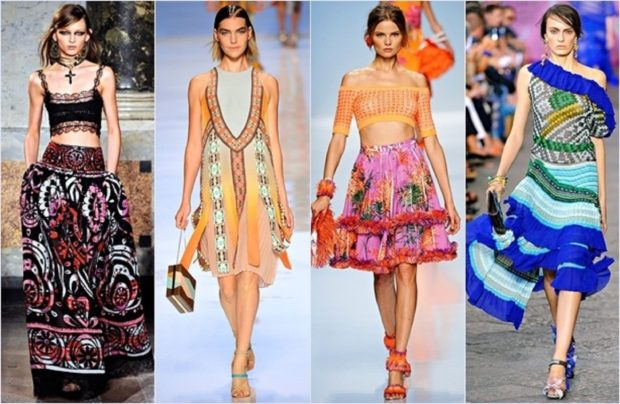 Модные тенденции 2019-2020 года: цыганский стиль юбка в цветы сарафаны платья яркие